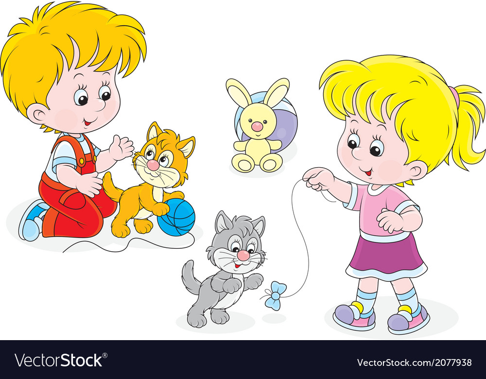 Children play with kittens vector | Price: 1 Credit (USD $1)