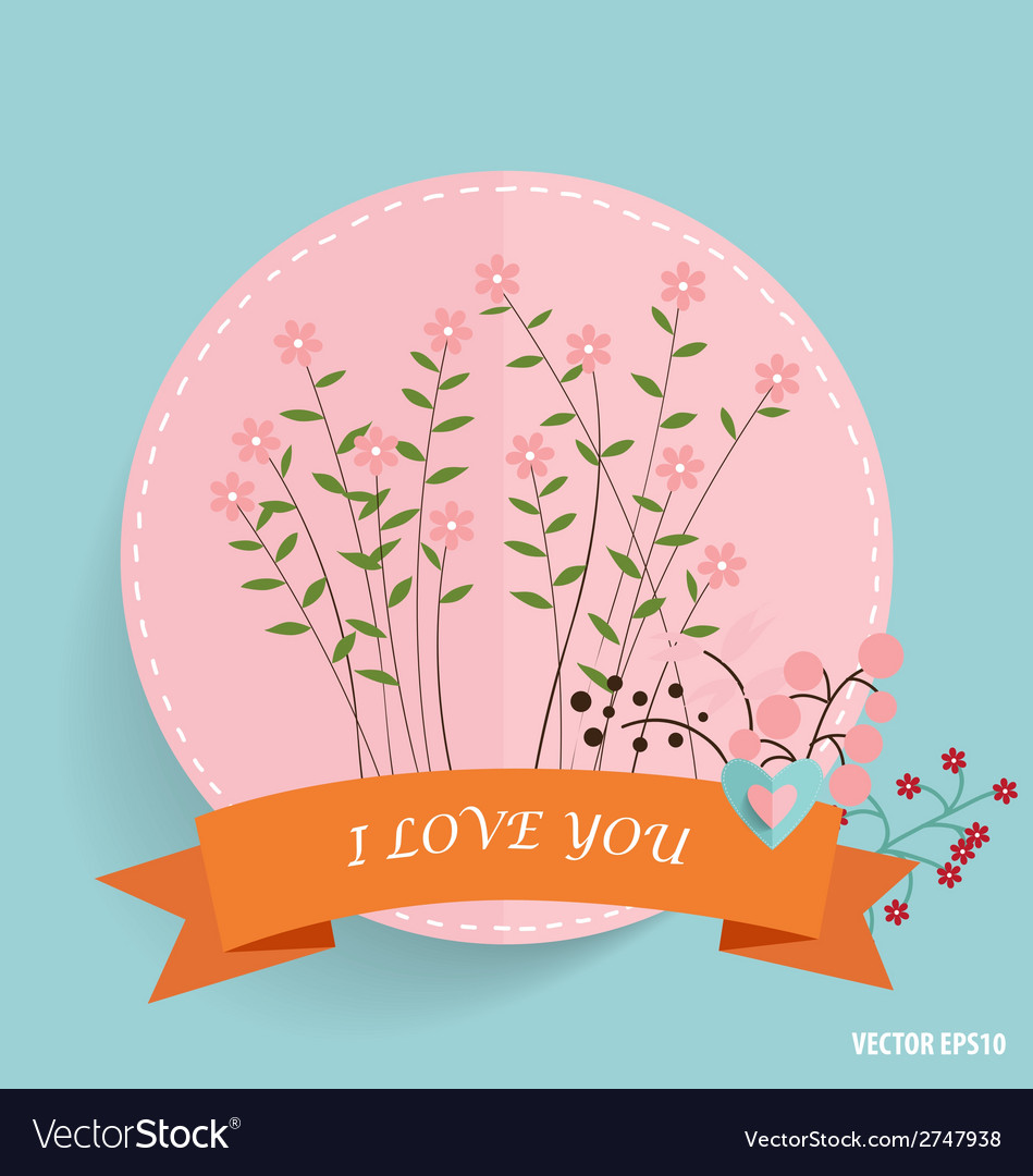 Cute card with ribbon heart and floral bouquets vector | Price: 1 Credit (USD $1)