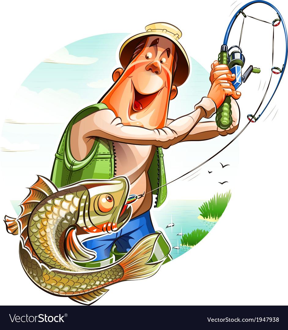 Fisherman and fish vector | Price: 5 Credit (USD $5)