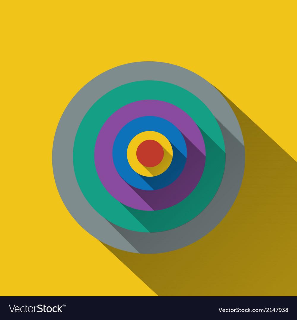 Flat long shadow of circle target vector | Price: 1 Credit (USD $1)