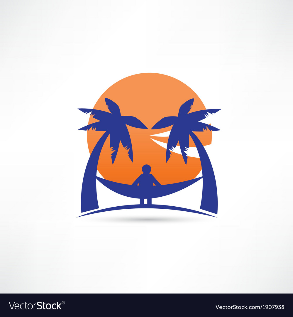 Man among the palms icon vector | Price: 1 Credit (USD $1)