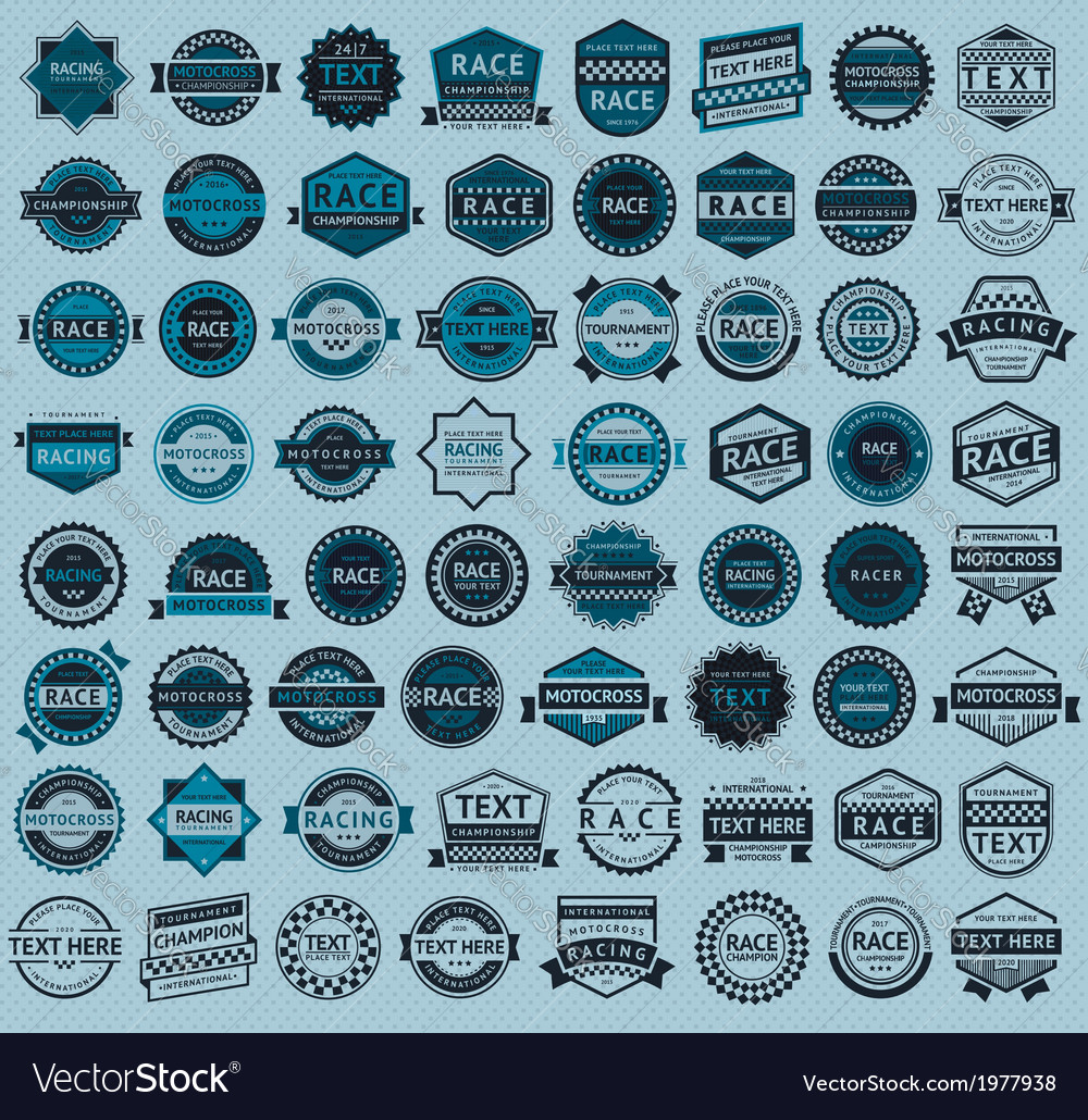 Racing badges - big blue set vintage style vector | Price: 1 Credit (USD $1)