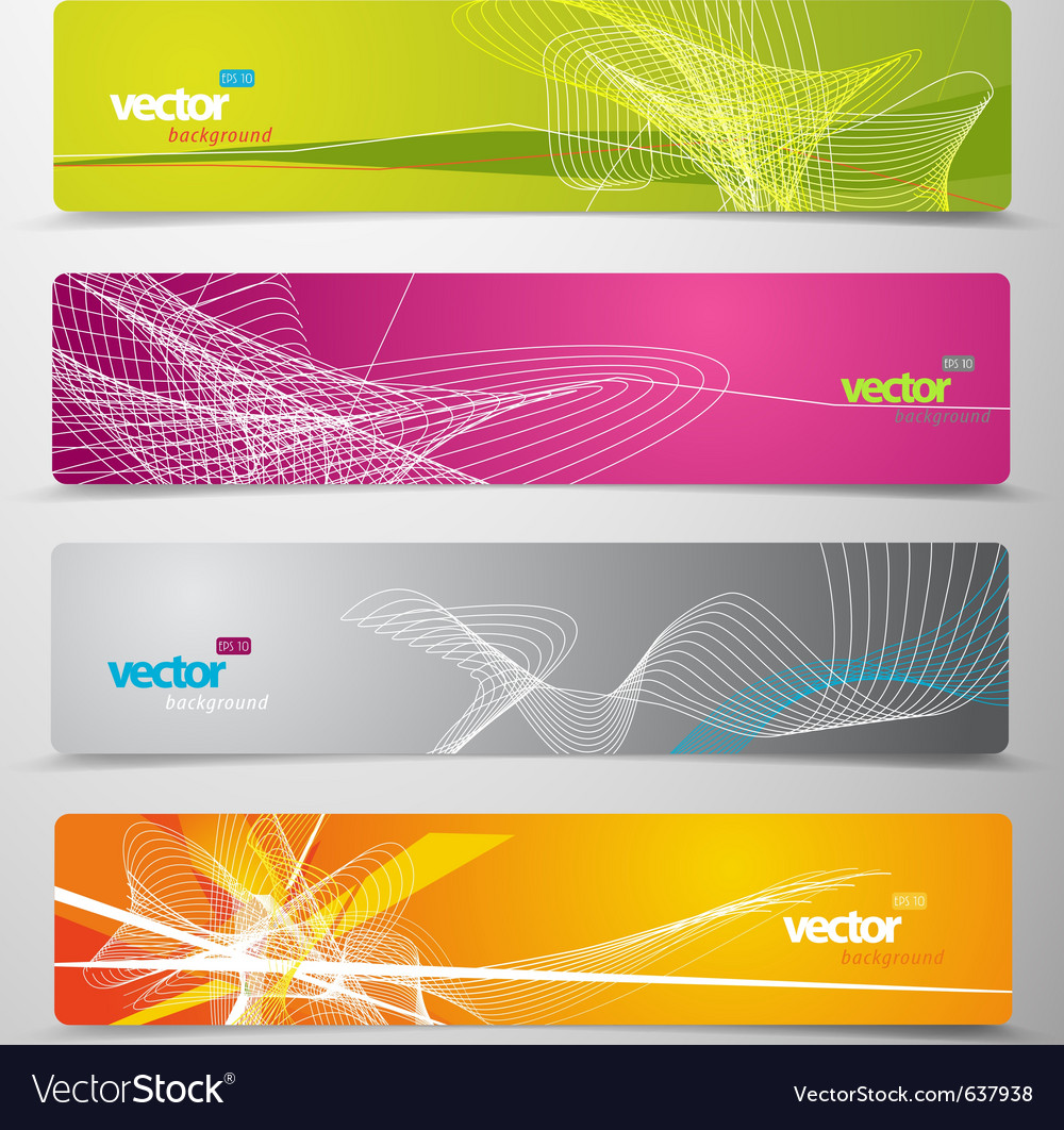Set of abstract colorful web headers vector | Price: 1 Credit (USD $1)