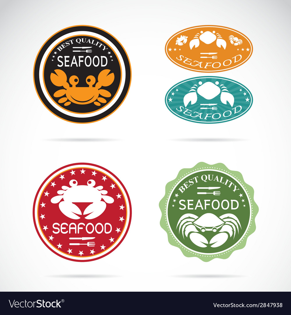 Set of an crab seafood label vector | Price: 1 Credit (USD $1)