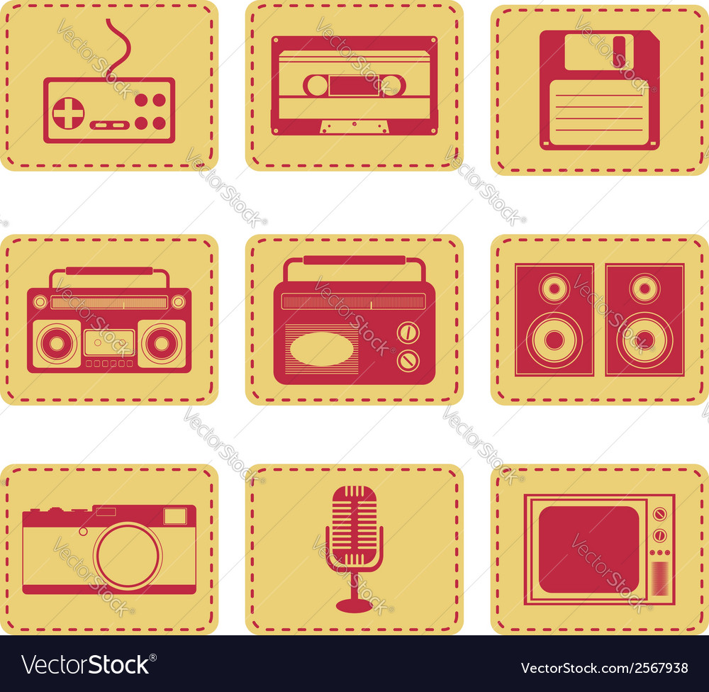 Set of retro gadgets monochrome vector | Price: 1 Credit (USD $1)