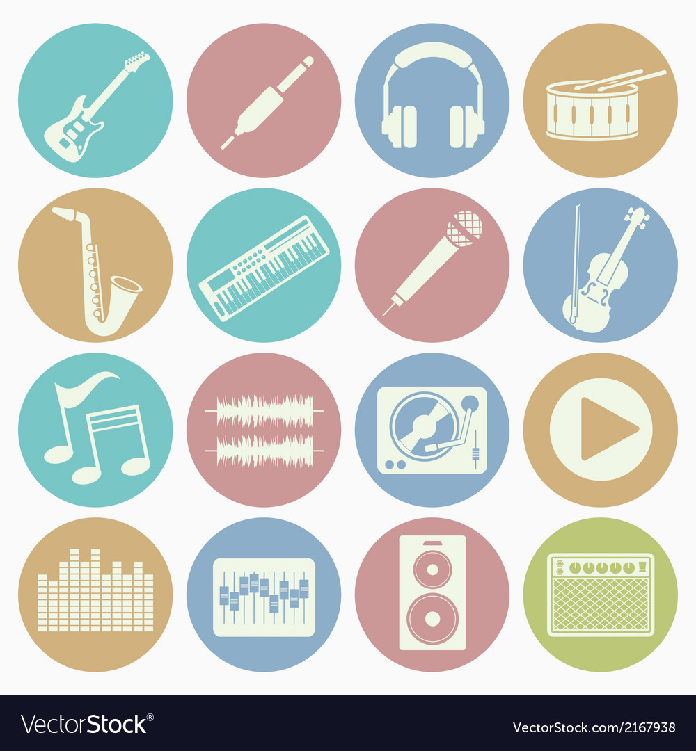 White icons music vector | Price: 1 Credit (USD $1)