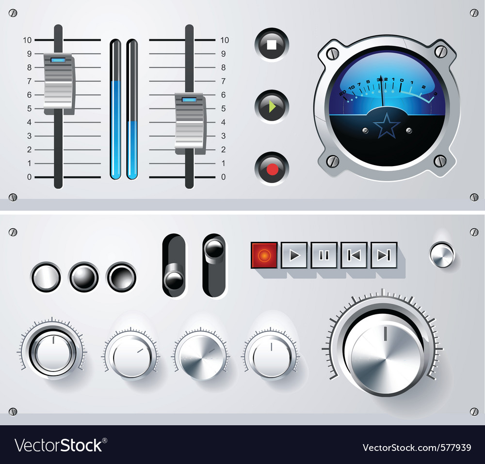 Analog controls interface elements set vector | Price: 1 Credit (USD $1)