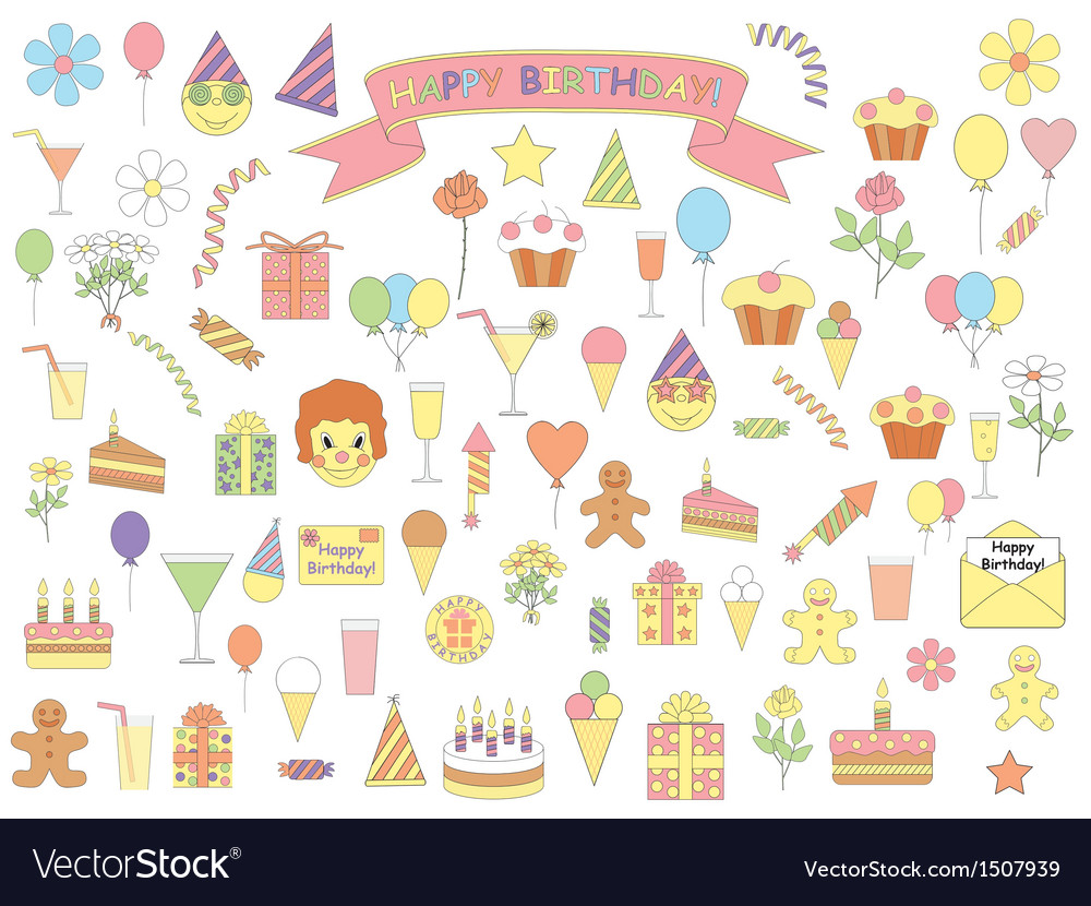 Birthday icons vector | Price: 1 Credit (USD $1)