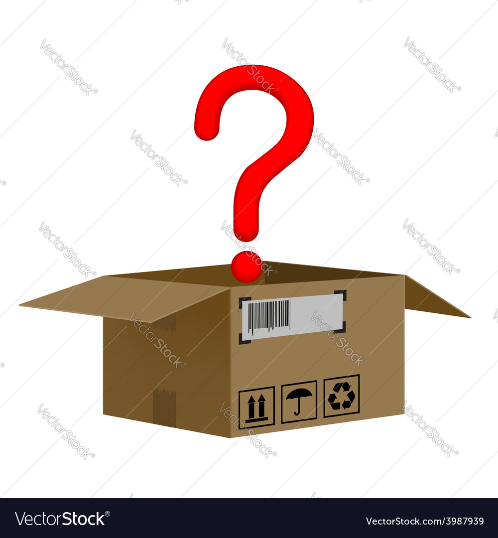 Box with a question mark isolated on white vector | Price: 1 Credit (USD $1)