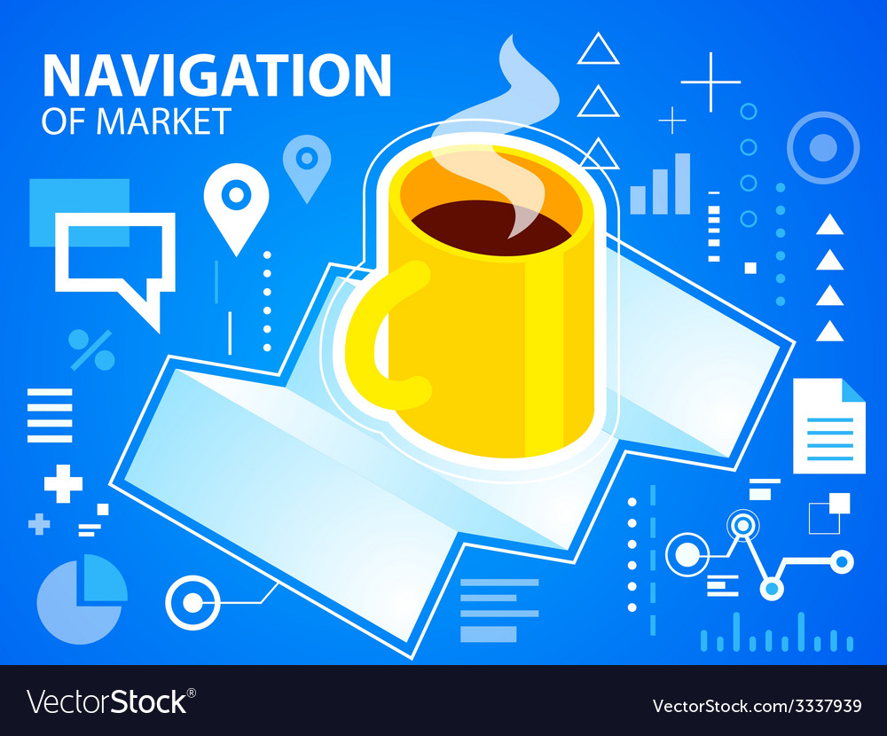 Bright navigation map and coffee on blue bac vector | Price: 3 Credit (USD $3)