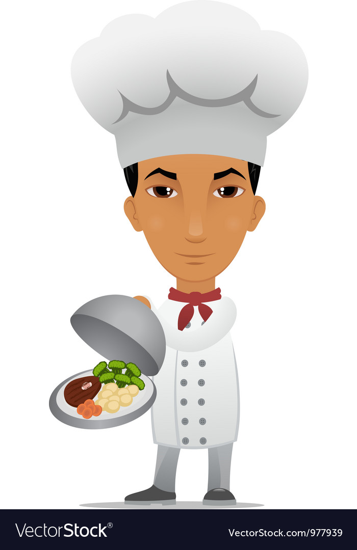 Chef with a main course vector | Price: 3 Credit (USD $3)