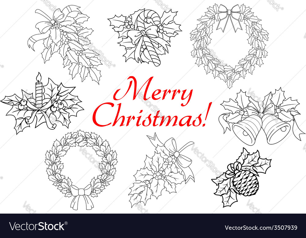 Christmas and new year holiday decorations set vector   Price: 1 Credit (USD $1)