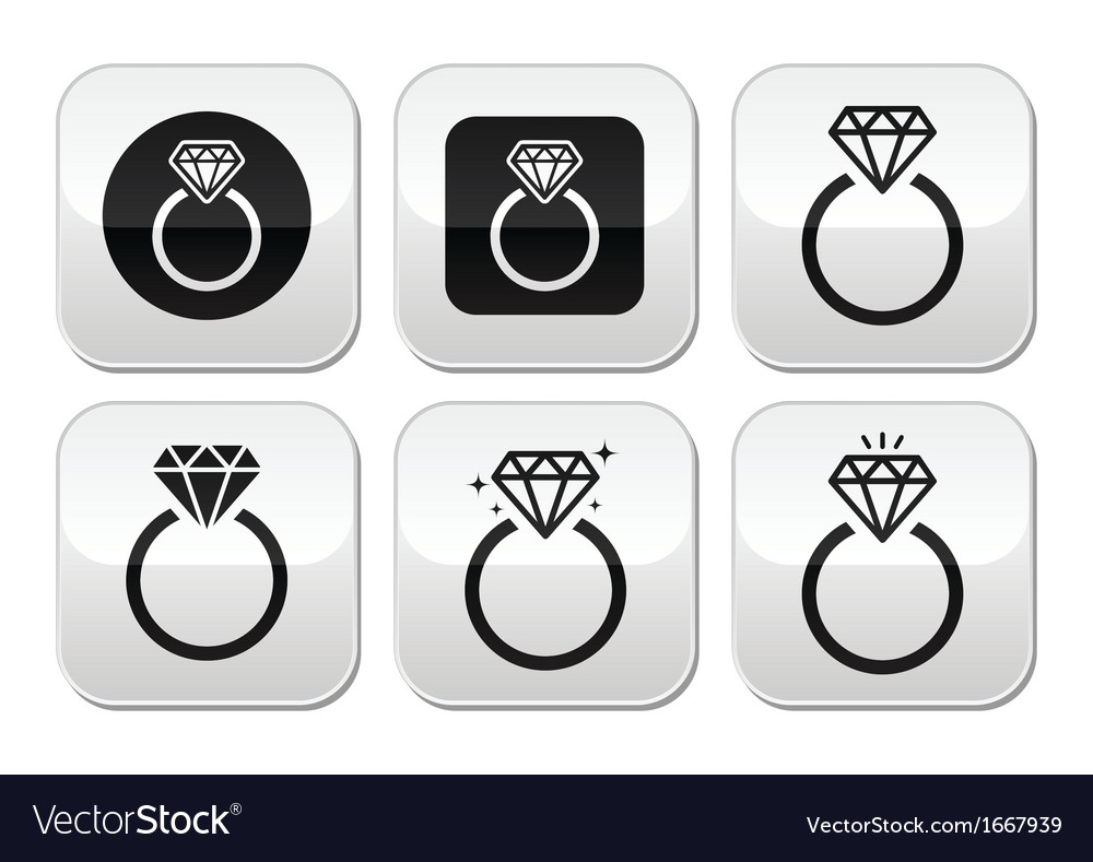 Diamond engagement ring buttons set vector | Price: 1 Credit (USD $1)