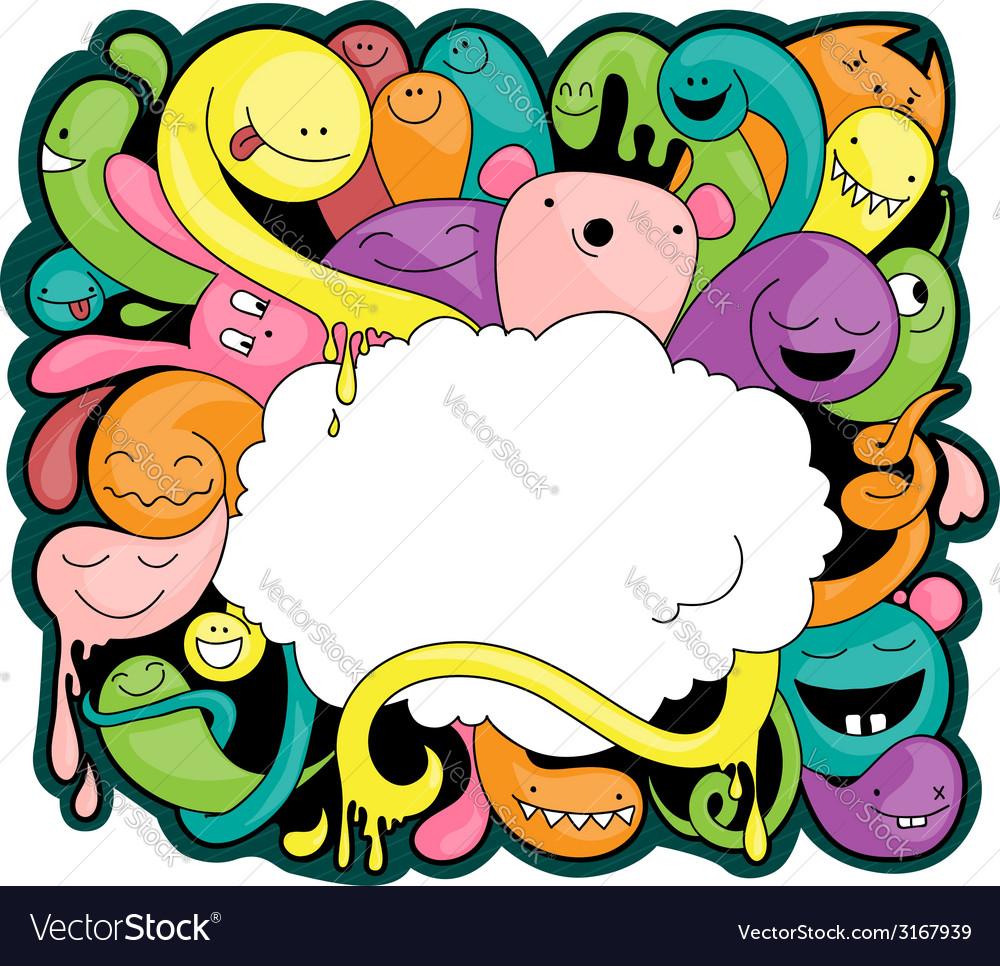 Doodle around a cloud vector | Price: 1 Credit (USD $1)