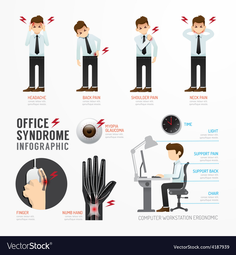 Fographic office syndrome template design vector | Price: 1 Credit (USD $1)
