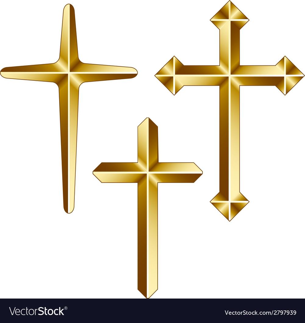 Golden christian crosses vector | Price: 1 Credit (USD $1)