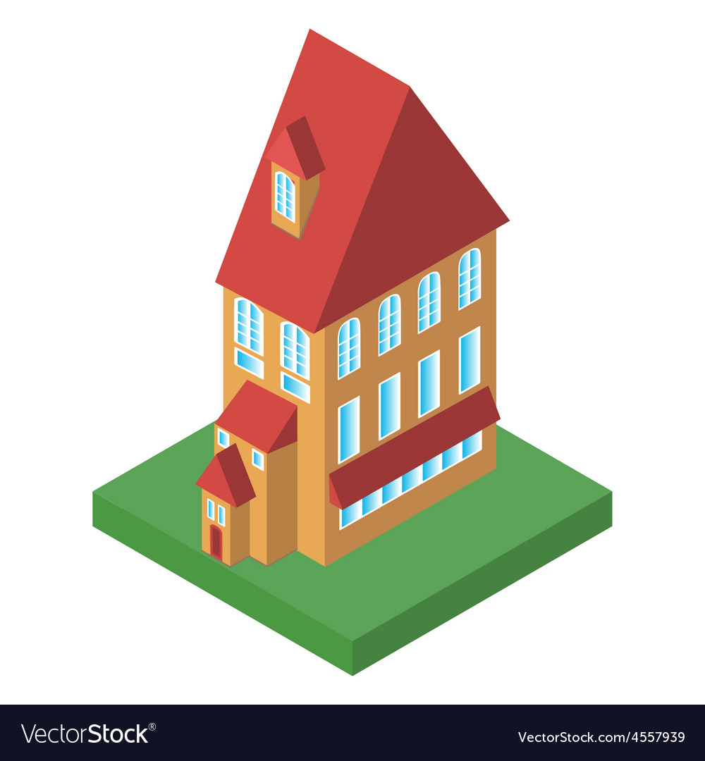 Old house with two floors with windows vector   Price: 1 Credit (USD $1)