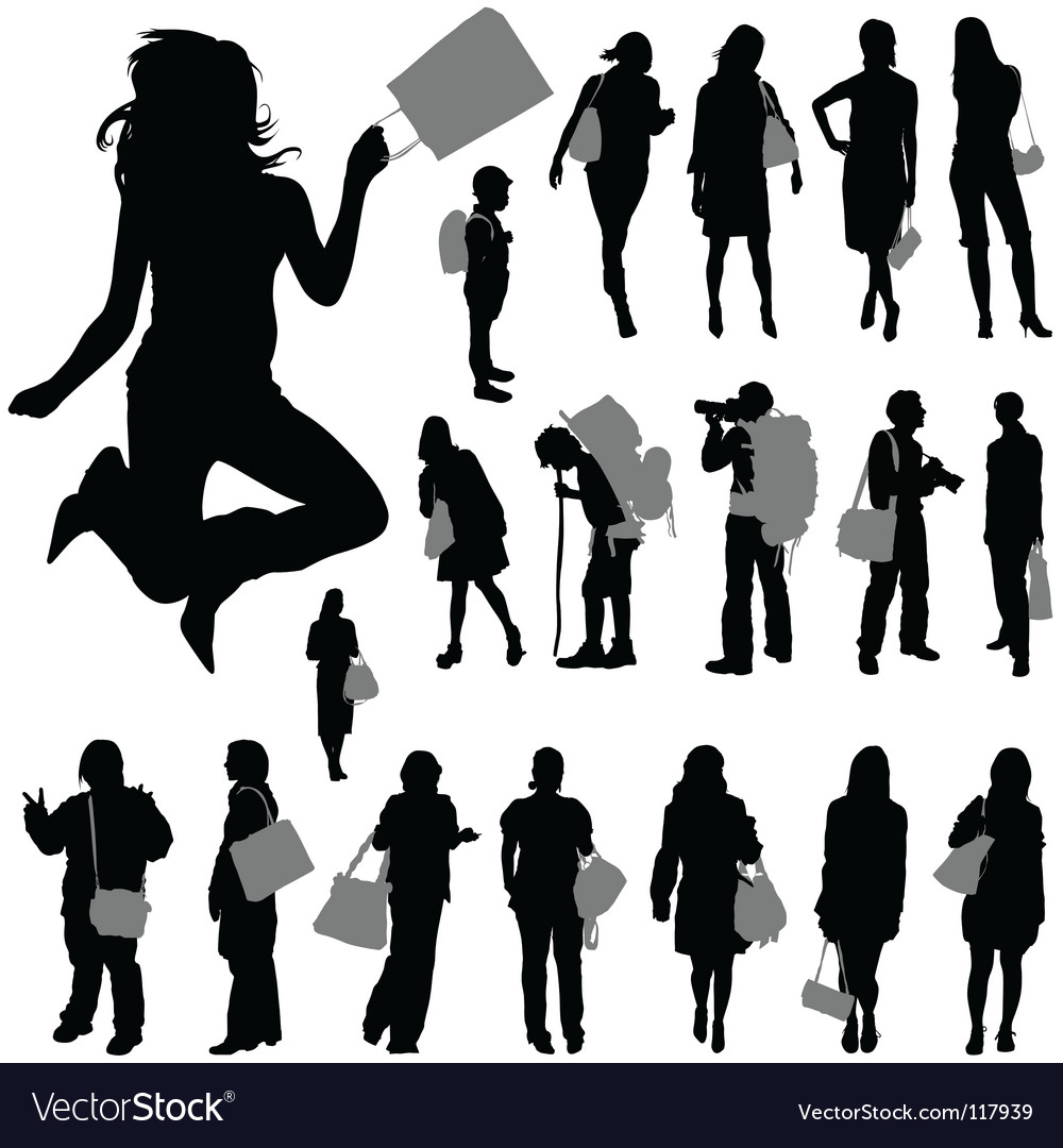 People with shopping bag vector | Price: 1 Credit (USD $1)