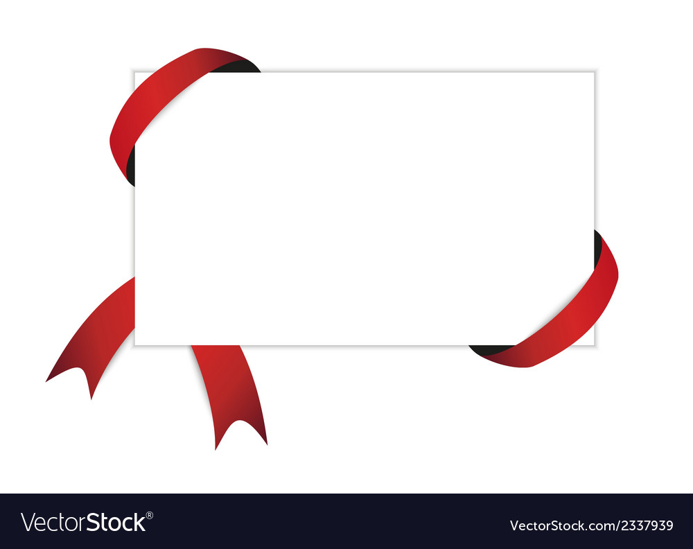 Red ribbon and blank white paper with shadow vector | Price: 1 Credit (USD $1)