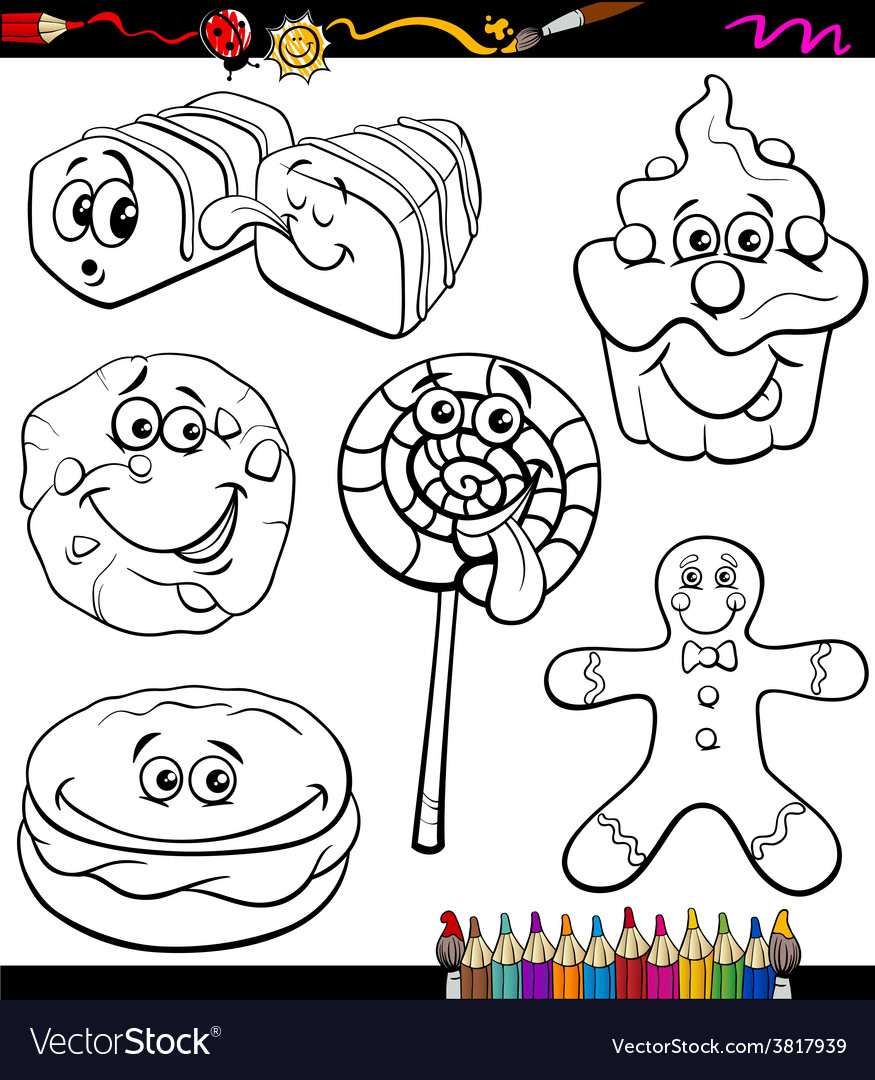 Sweets set cartoon coloring book vector | Price: 1 Credit (USD $1)