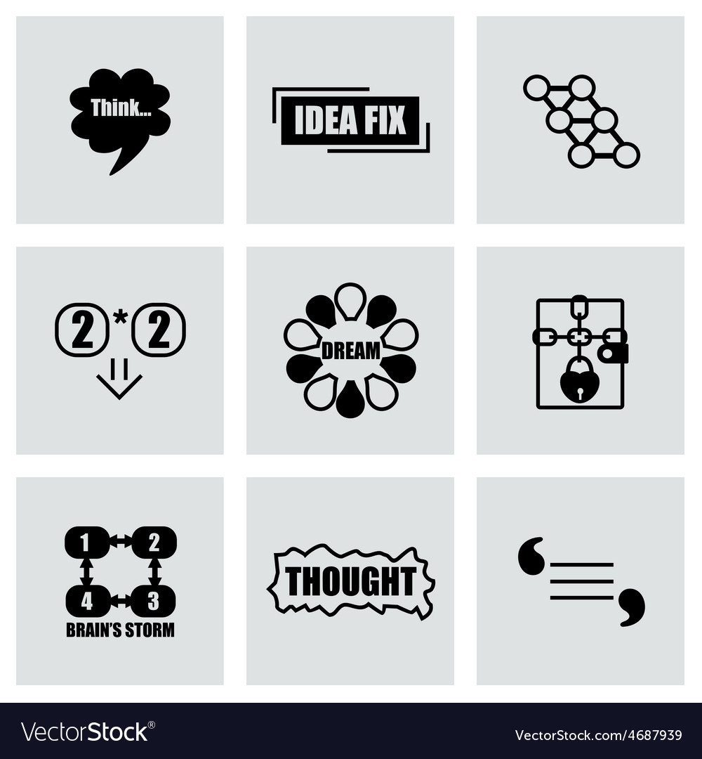 Thought icon set vector | Price: 1 Credit (USD $1)