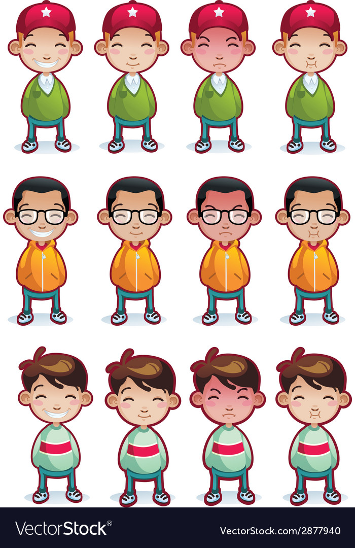 Cartoon boys emotions set isolated vector | Price: 1 Credit (USD $1)