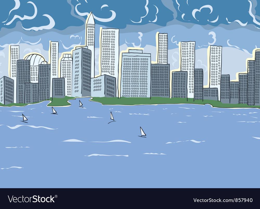 Cartoon city vector | Price: 1 Credit (USD $1)