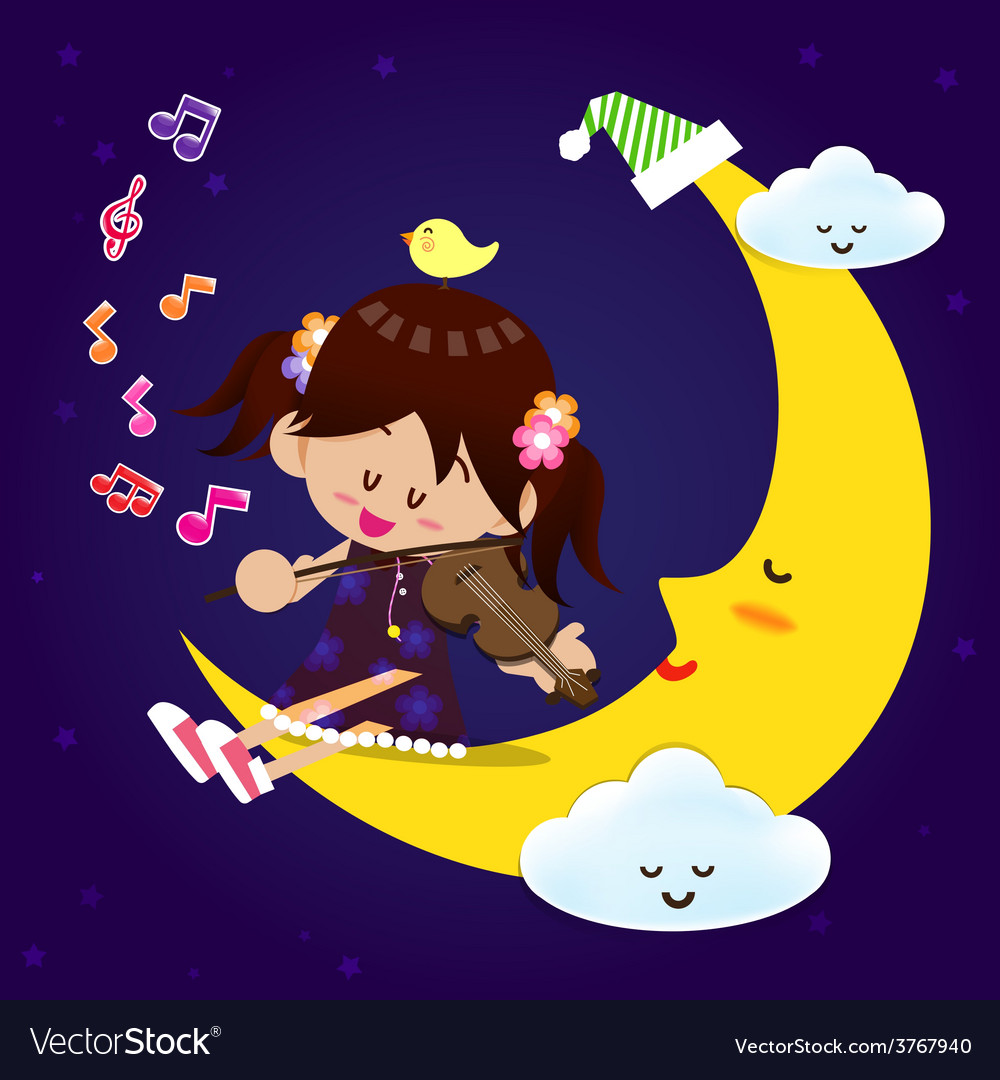 Cute girl play music with moon at night vector | Price: 1 Credit (USD $1)