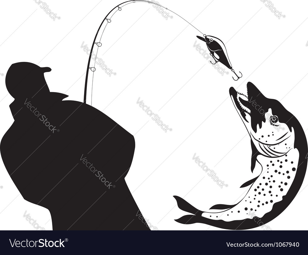 Fishing fisherman and pike vector | Price: 1 Credit (USD $1)