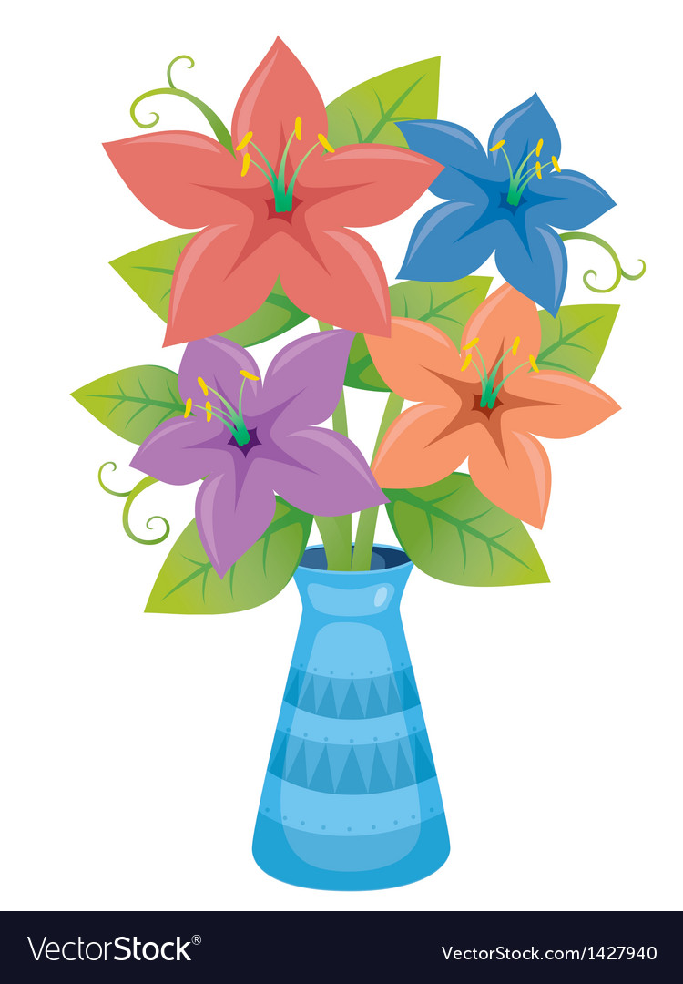 Flower in vase vector | Price: 1 Credit (USD $1)