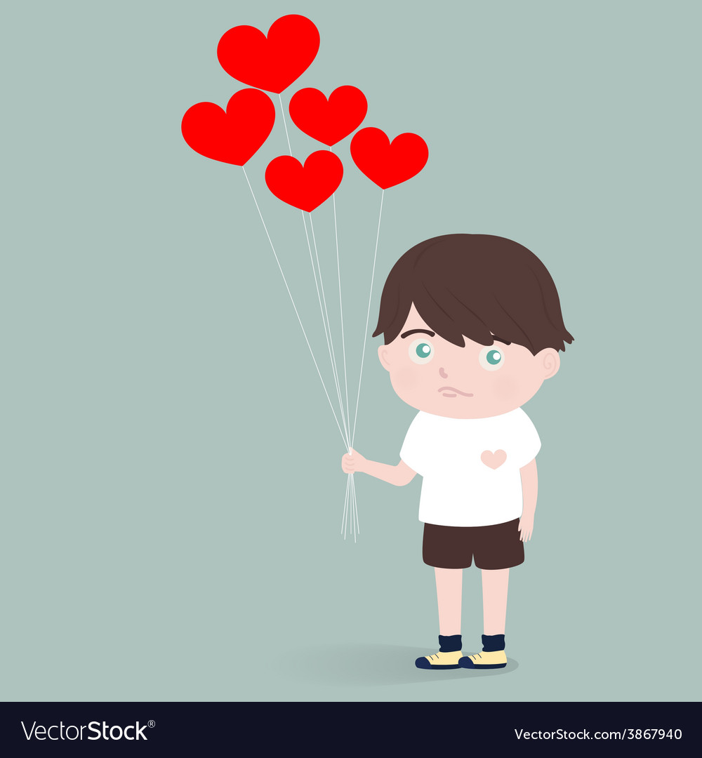 Little boy with heart balloons vector | Price: 1 Credit (USD $1)