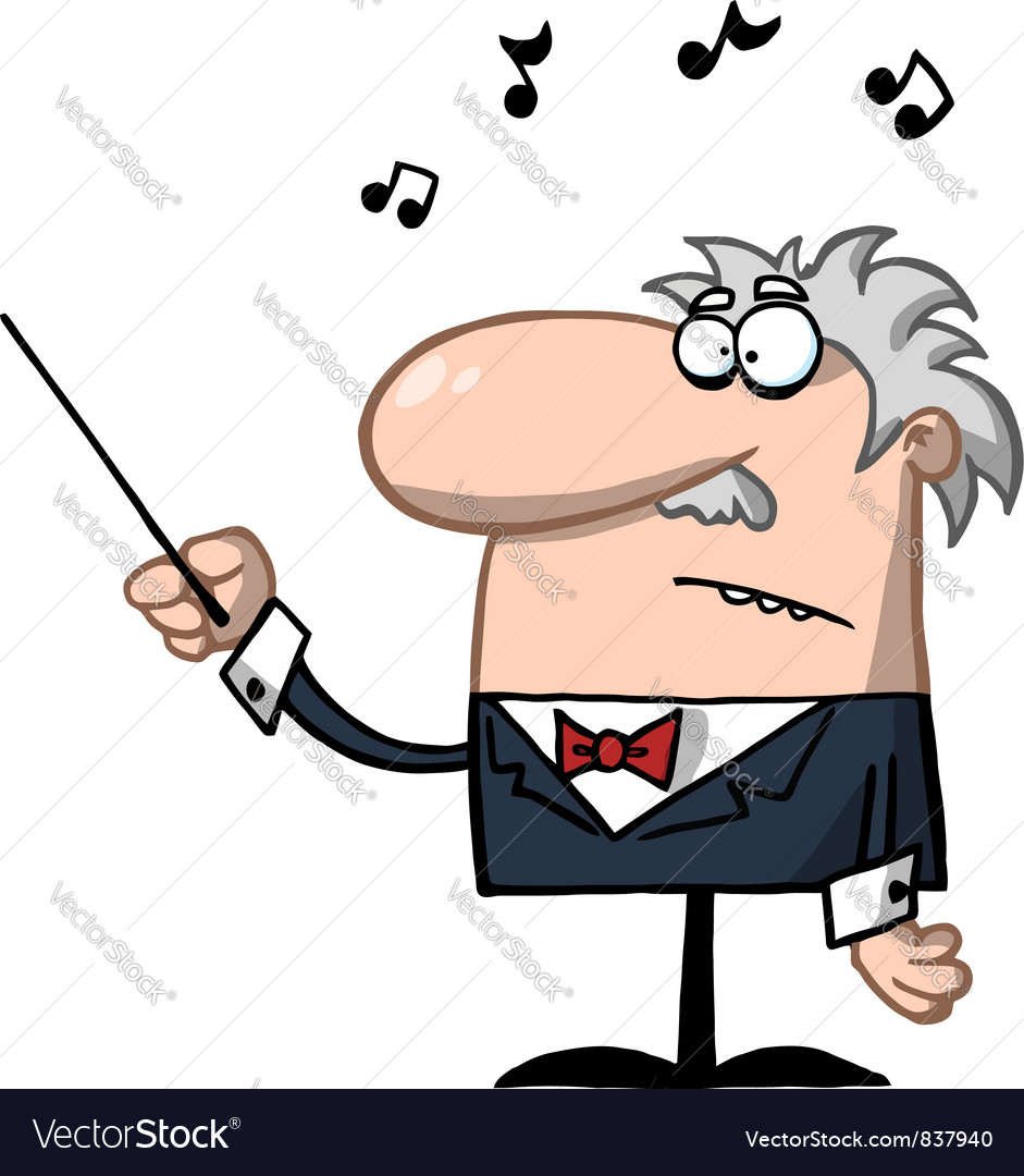 Orchestra conductor holds baton vector | Price: 1 Credit (USD $1)