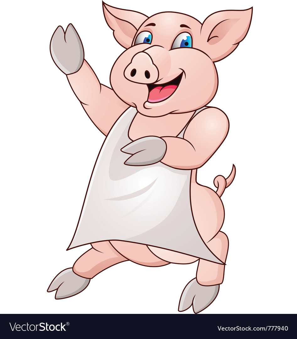 Pig wearing apron vector | Price: 1 Credit (USD $1)