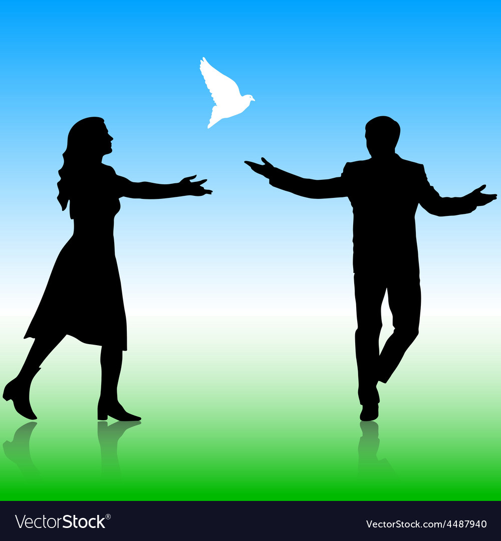 Silhouettes girl and guy released doves into the vector | Price: 1 Credit (USD $1)