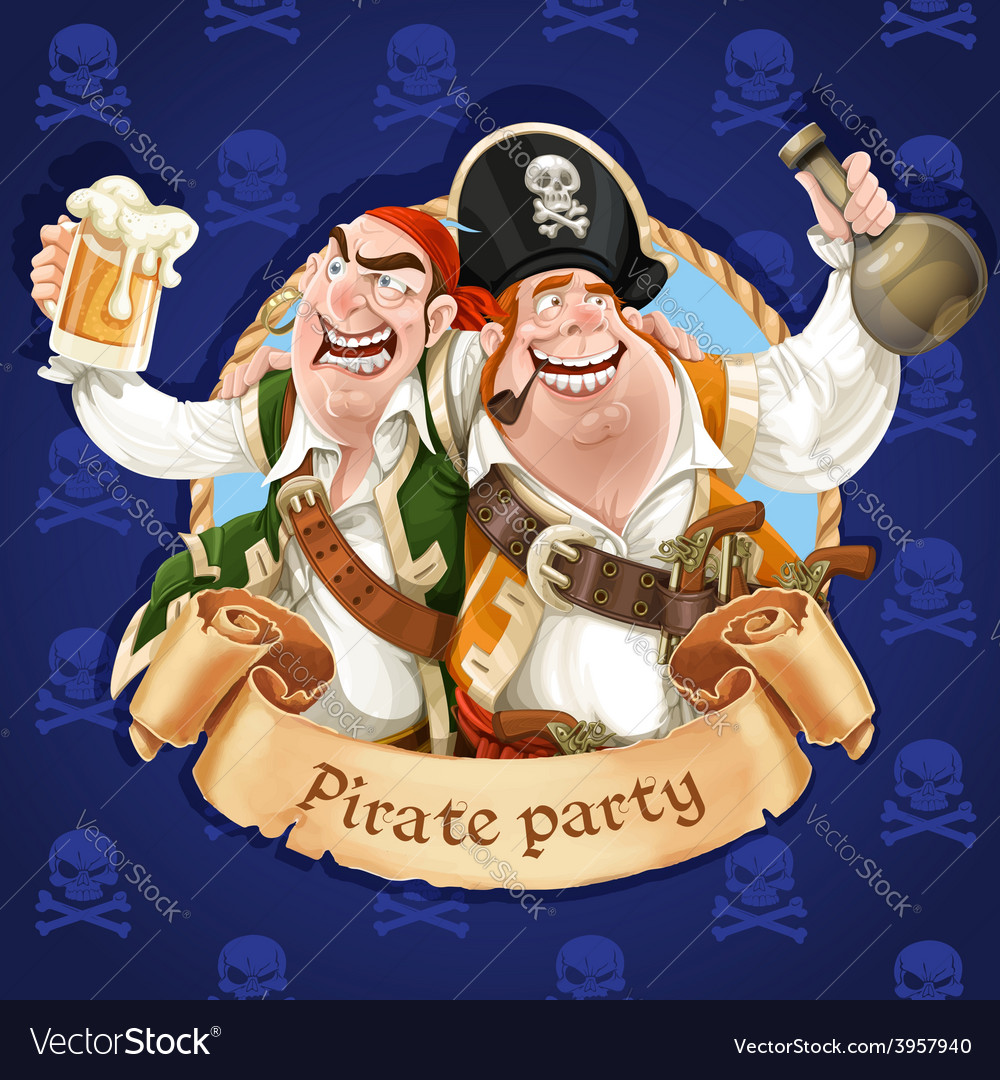 Two drunken pirates with rum and beer banner for vector | Price: 3 Credit (USD $3)