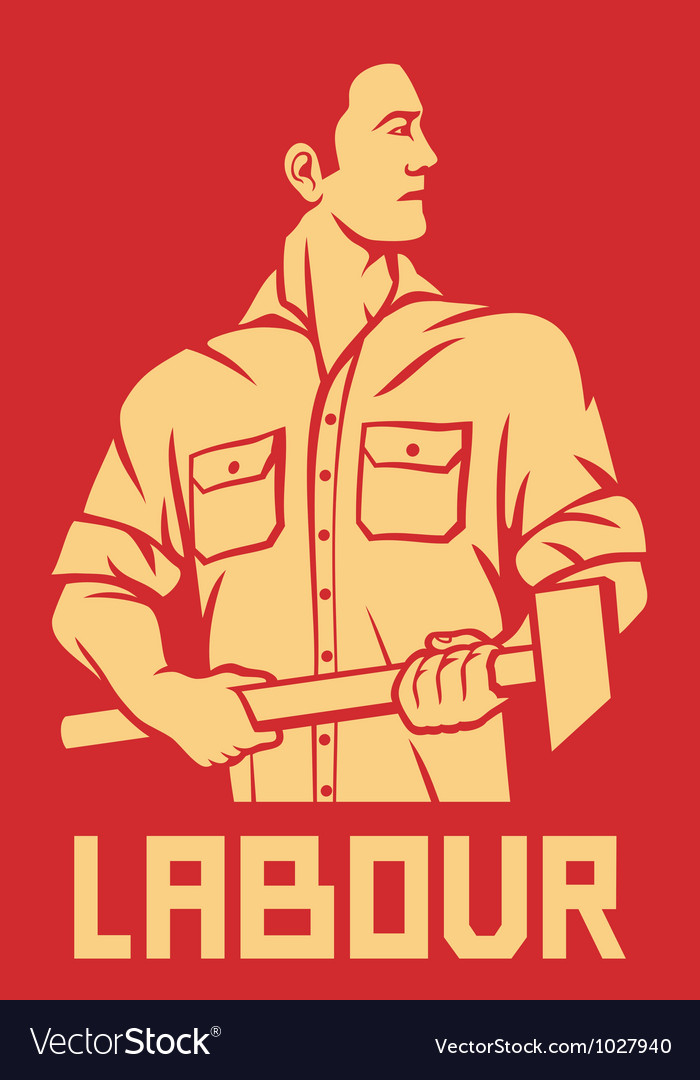 Worker holding a hammer poster vector | Price: 1 Credit (USD $1)