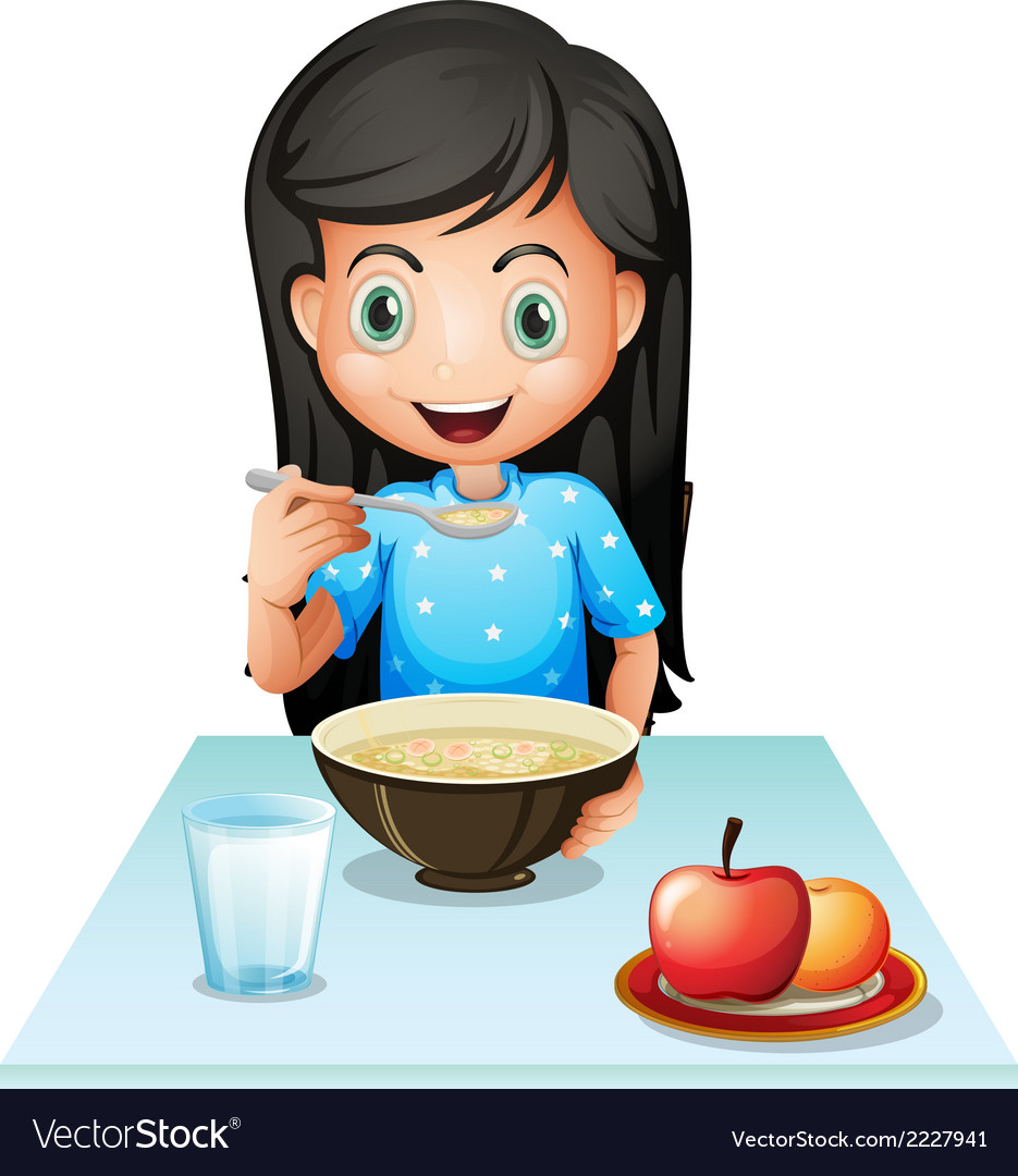 A smiling young lady eating breakfast vector | Price: 1 Credit (USD $1)