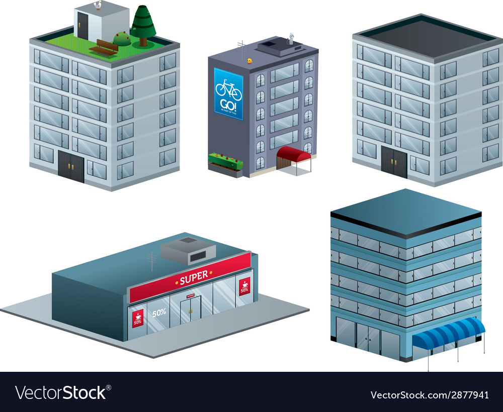 Building isometric set isolated vector | Price: 1 Credit (USD $1)