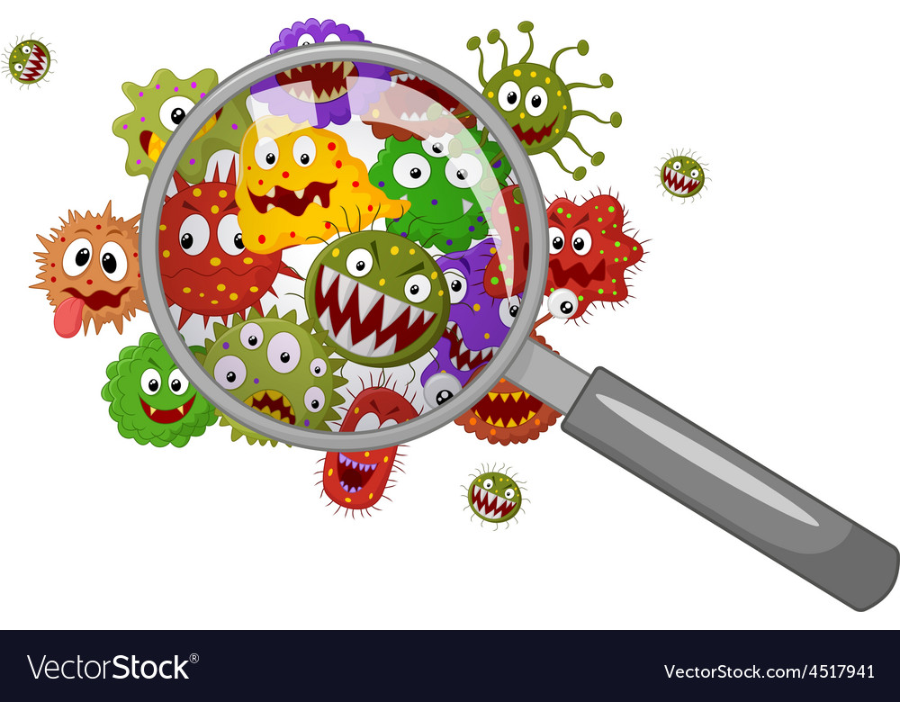 Cartoon bacteria under a magnifying glass vector | Price: 1 Credit (USD $1)