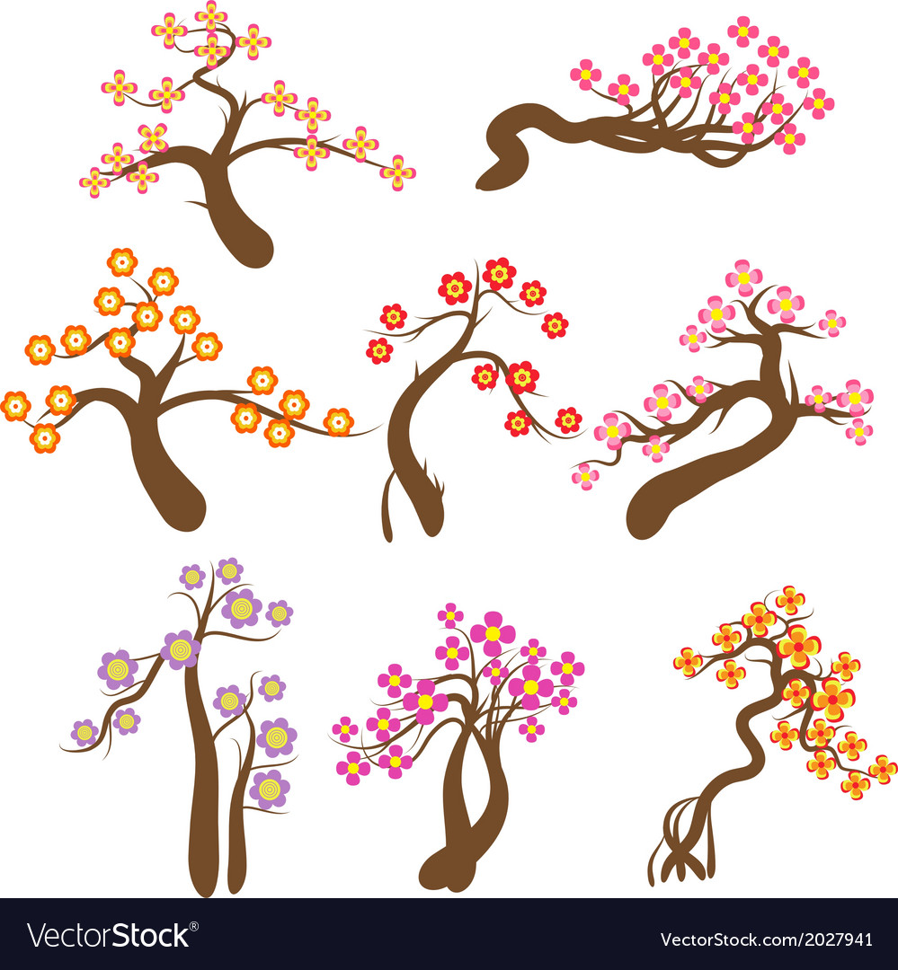 Highly detailed spring trees and flower vector | Price: 1 Credit (USD $1)