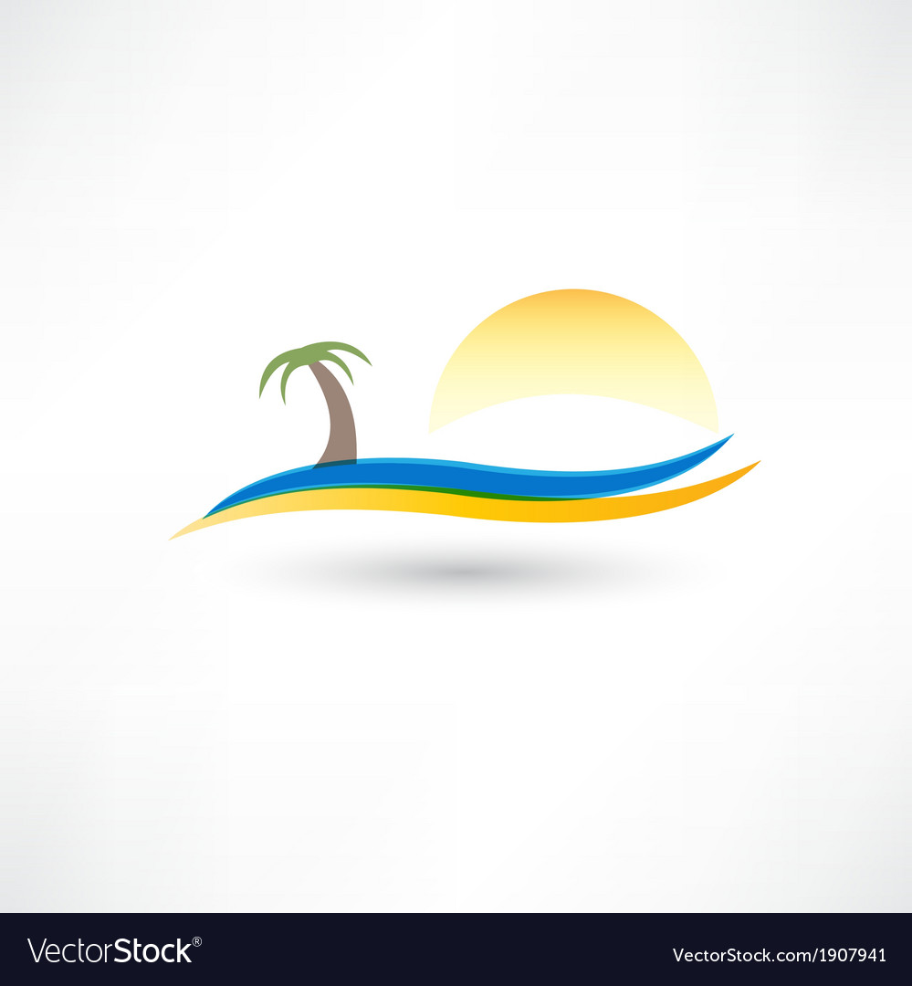 Relaxing on the beach abstraction icon vector | Price: 1 Credit (USD $1)