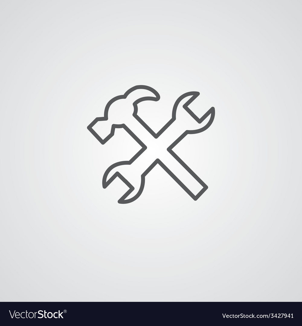 Repair outline symbol dark on white background vector | Price: 1 Credit (USD $1)