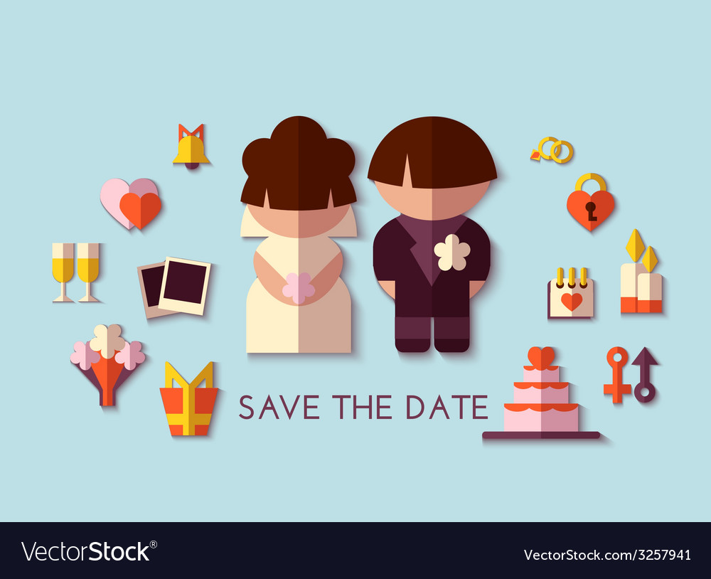 Save the date set flat design vector | Price: 1 Credit (USD $1)