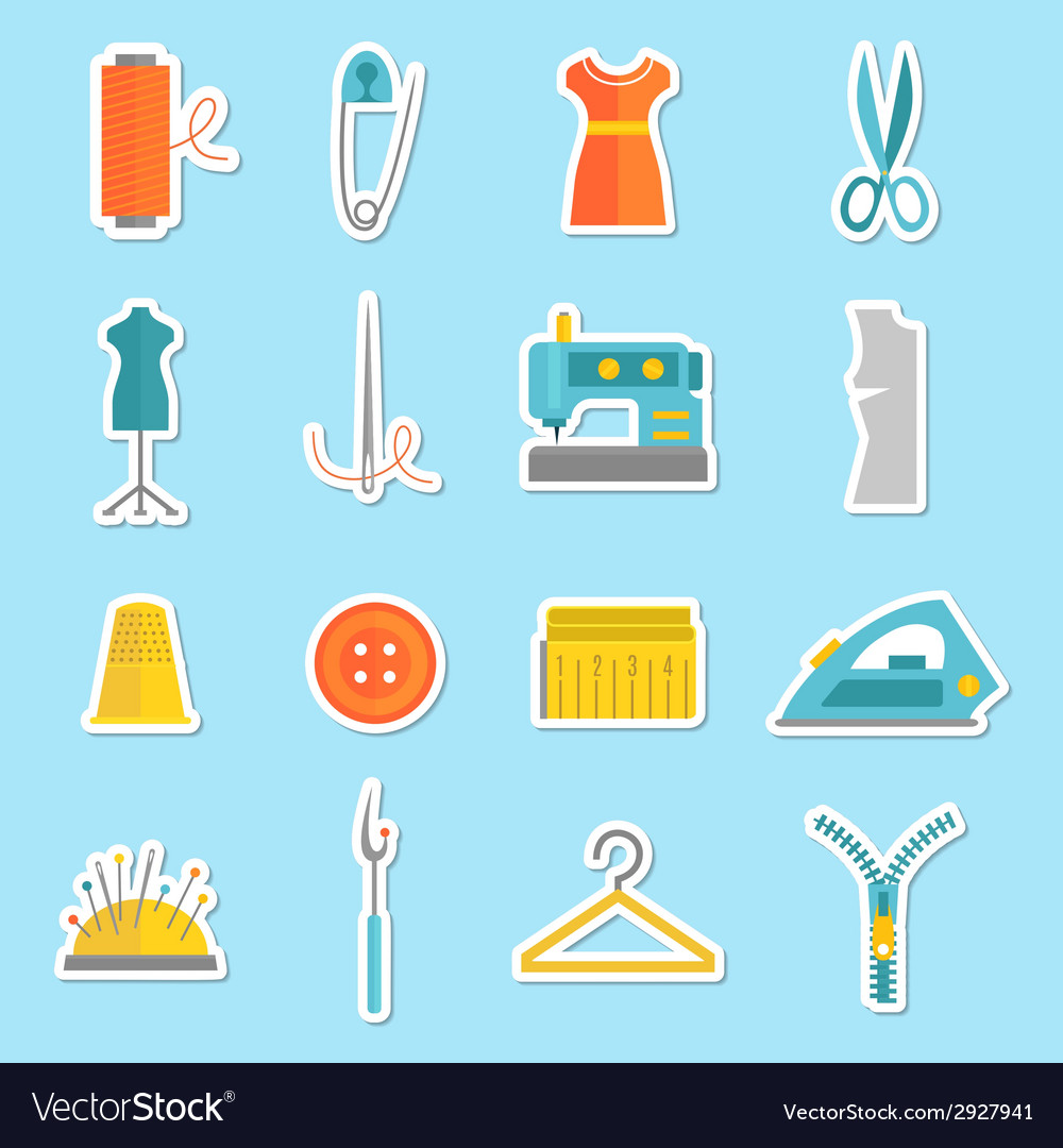 Sewing equipment stickers vector | Price: 1 Credit (USD $1)