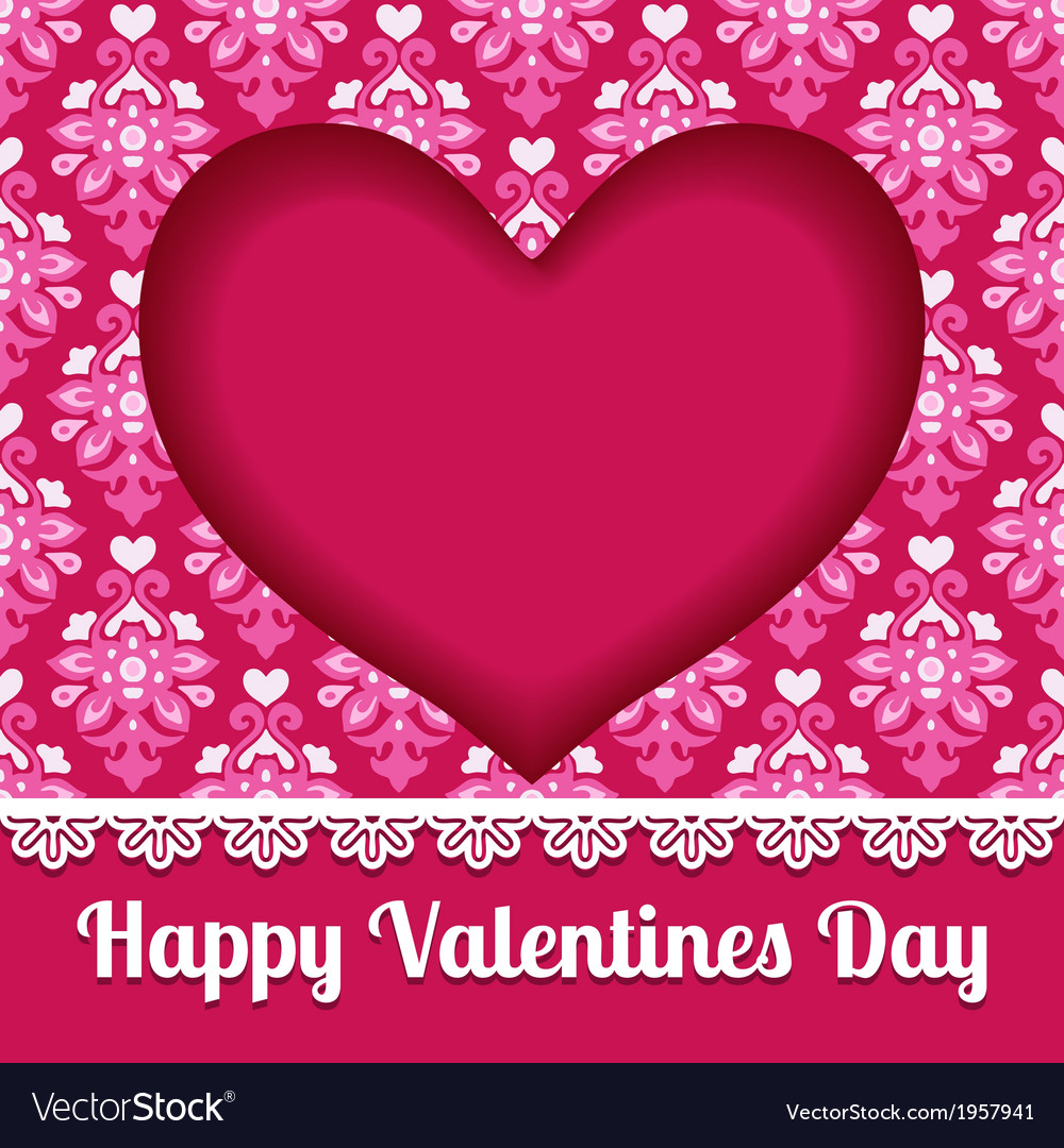 Valentines heart card lace design vector | Price: 1 Credit (USD $1)