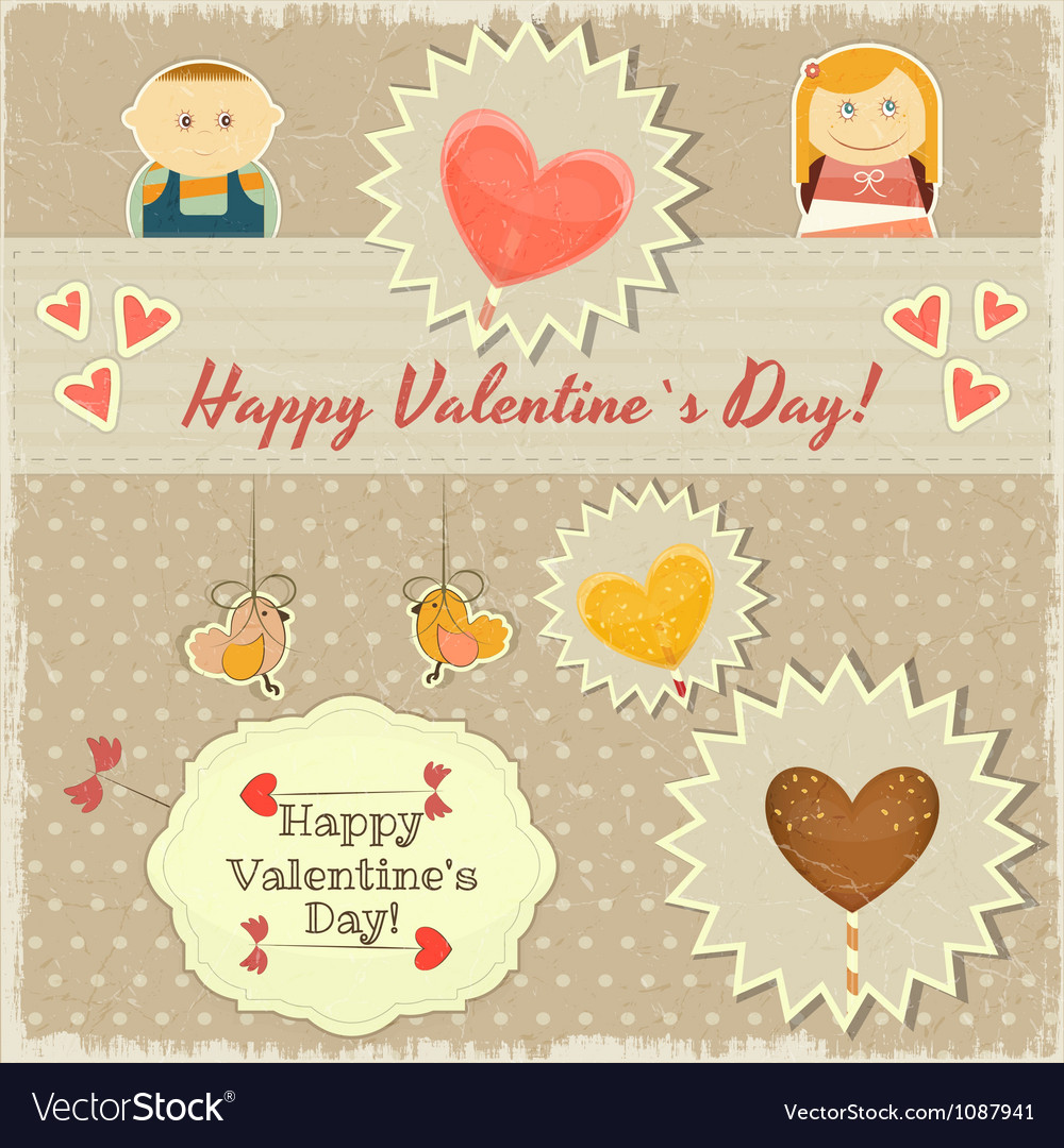 Vintage valentines day card with sweet hearts vector | Price: 1 Credit (USD $1)