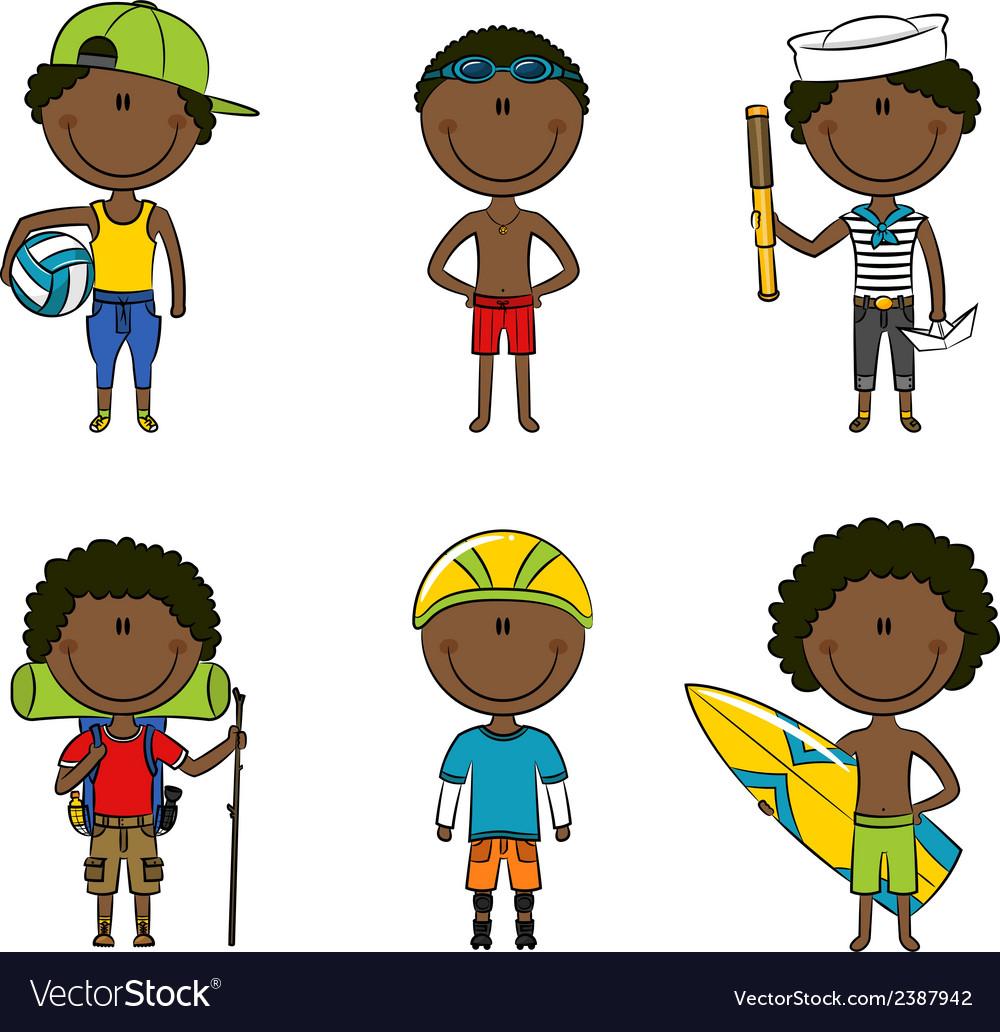 African-american summer boys vector | Price: 1 Credit (USD $1)