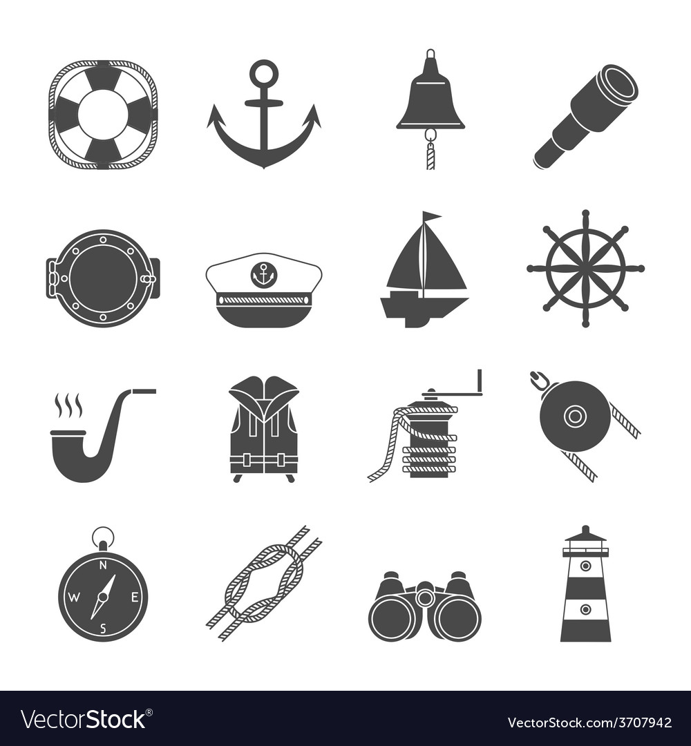 Black and white yachting icons set anchor vector | Price: 1 Credit (USD $1)