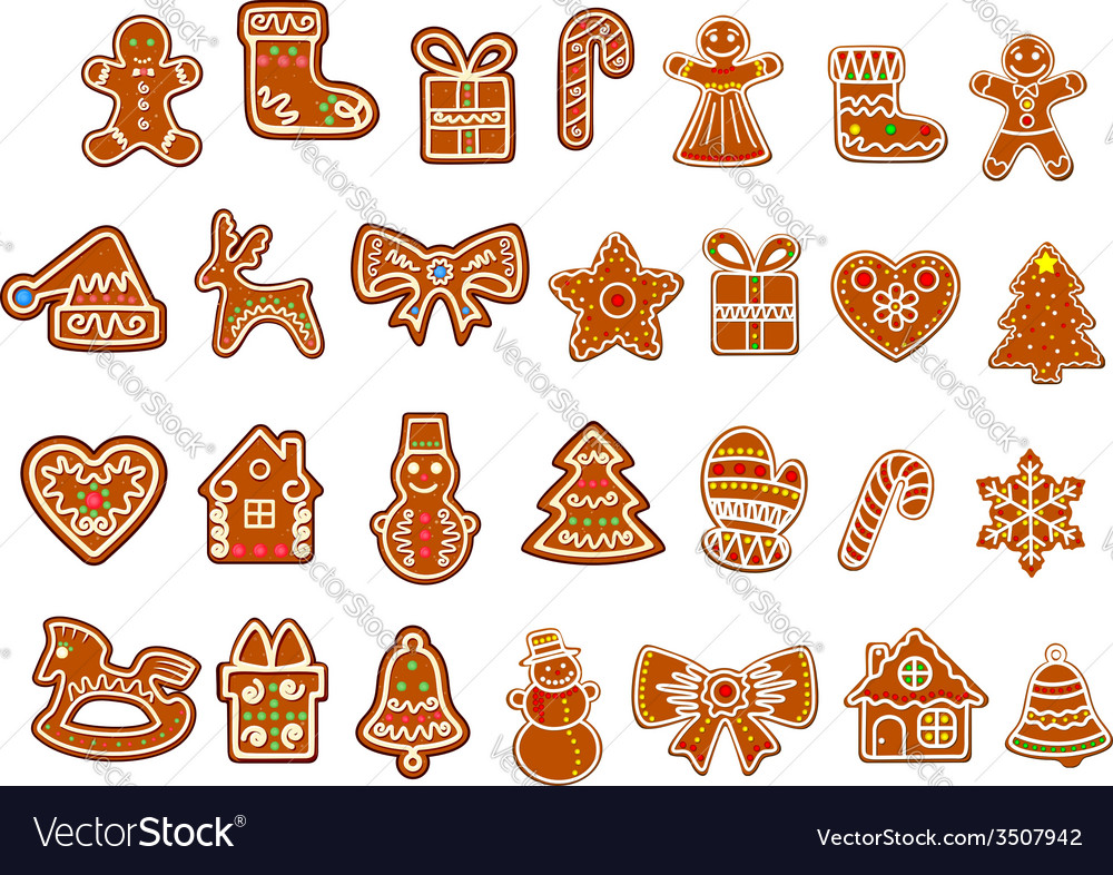 Christmas figure cookies collection vector