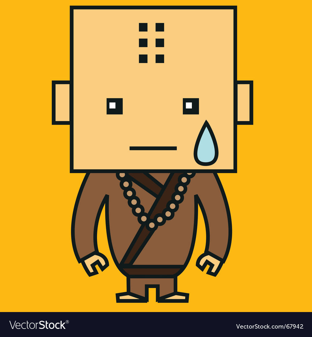 Crying monk vector | Price: 1 Credit (USD $1)